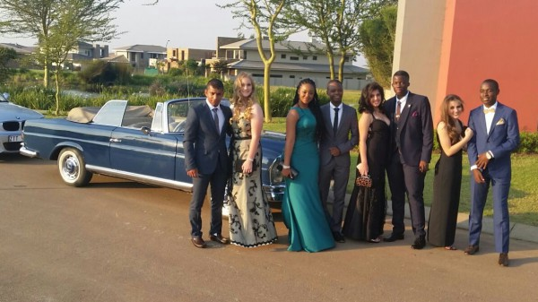 "Beautiful groups of school leavers beside our 220 SEB Merc Cabrio ""Janina"""