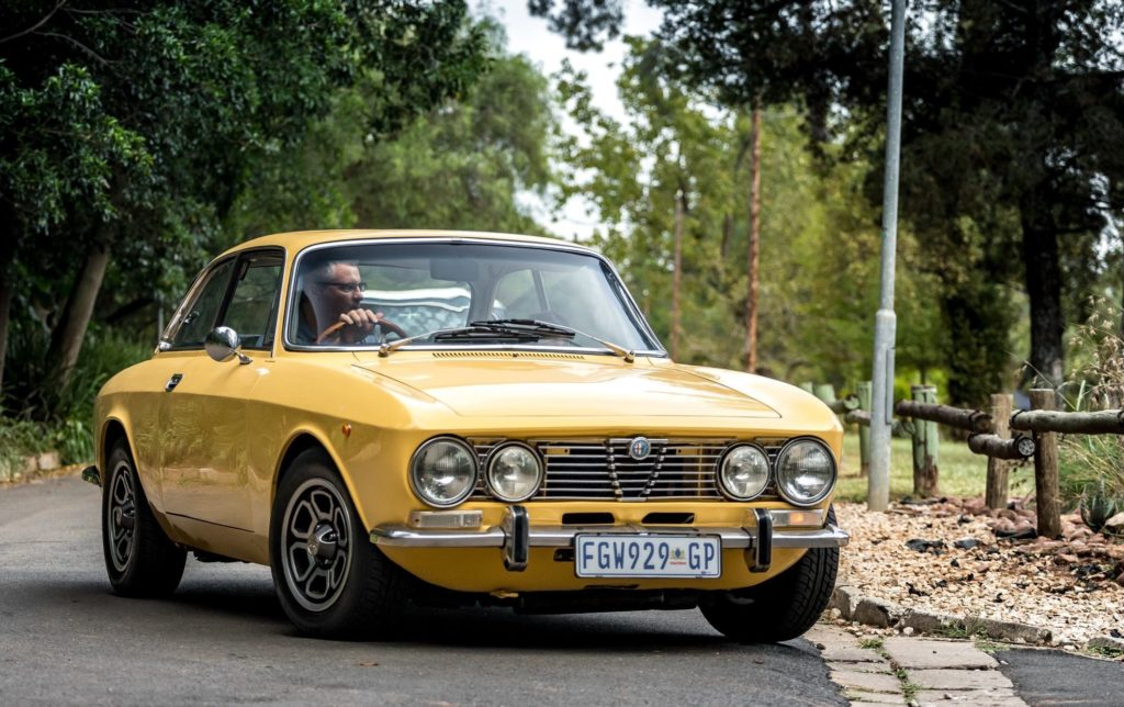 yellow alpha GTV hire-classic-cars